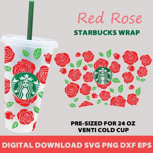 Rose full wrap starbucks cold cup