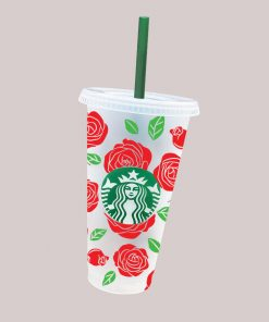 Rose full wrap starbucks cold cup svg