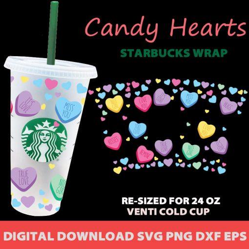 Candy heart full wrap starbucks svg