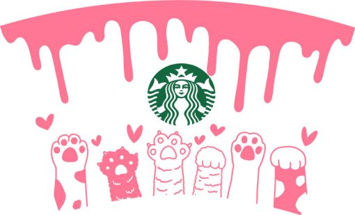 Cat Paws Hearts Full Wrap starbucks cup svg 1