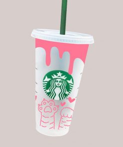 Cat Paws Hearts Full Wrap starbucks cup svg 3