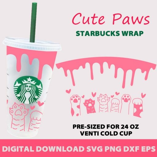 Cat Paws Hearts Full Wrap starbucks cup svg