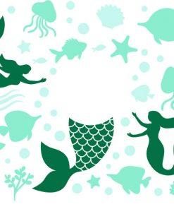 Mermaid Full wrap starbucks cup svg 3