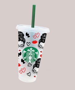 Messy Bun Hair Starbucks cold cup svg