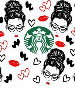 Messy Bun Hair Starbucks cup svg 24 oz