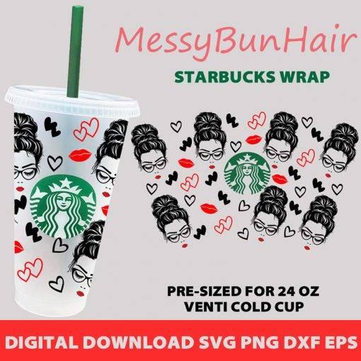 Messy Bun Hair Starbucks cup svg