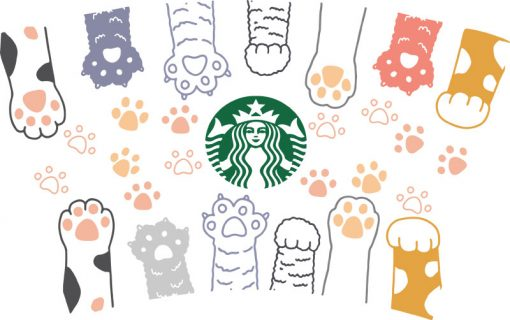 Paws full wrap starbucks cup svg 1