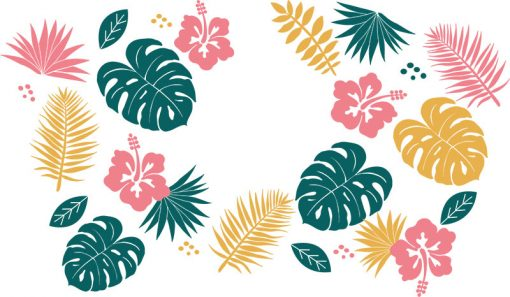 Tropical Leaves full wrap starbucks hot cup svg 1