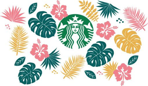 Tropical Leaves full wrap starbucks hot cup svg 2