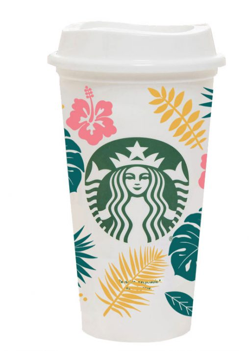 Tropical Leaves full wrap starbucks hot cup svg 3