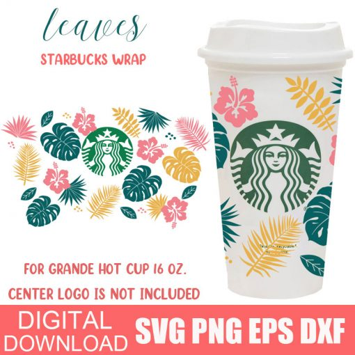 Tropical Leaves full wrap starbucks hot cup svg