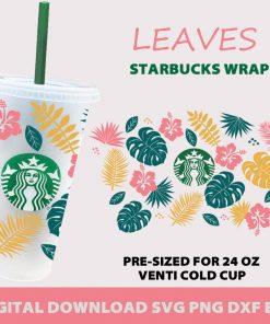 Tropical Leaves full wrap starbucks svg