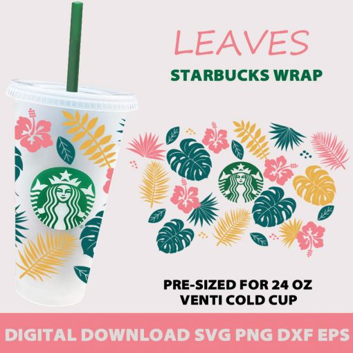 Tropical Leaves full wrap starbucks svg