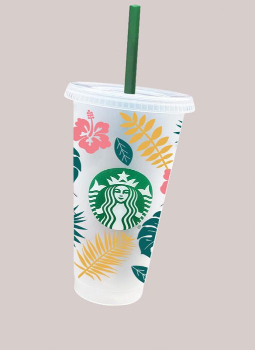 Tropical Leaves full wrap starbucks svg cold cup