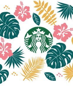 Tropical Leaves full wrap starbucks svg cup