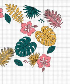 Tropical Leaves full wrap starbucks svg layer