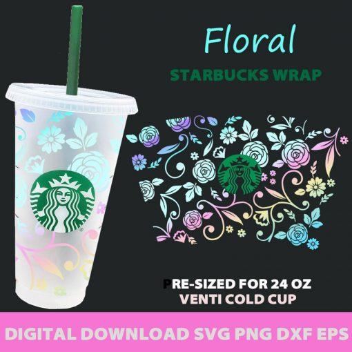 full wrap floral starbucks svg