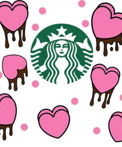 heart dripping full wrap starbucks hot cup svg 2