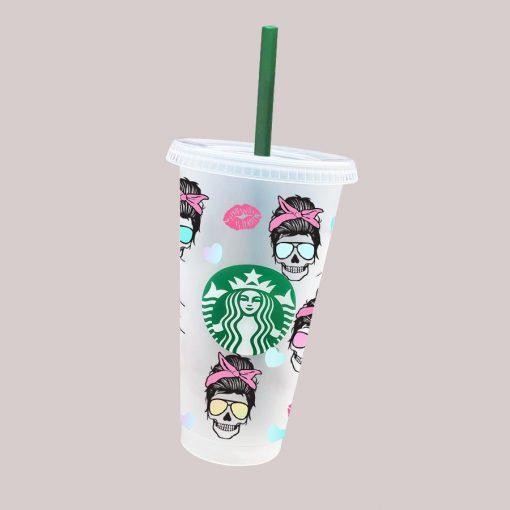 messy skull full wrap Starbucks svg cup