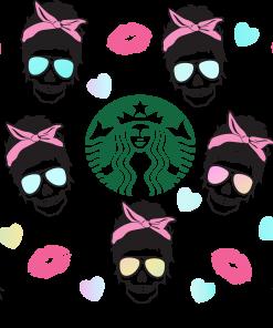 messy skull full wrap Starbucks svg s