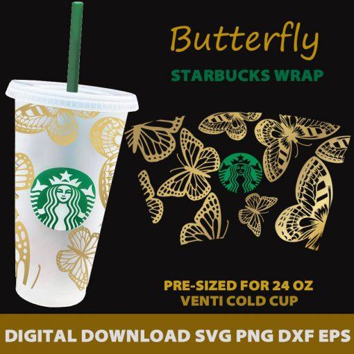 more butterfly full wrap starbucks svg