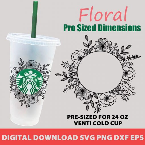 Floral starbucks svg