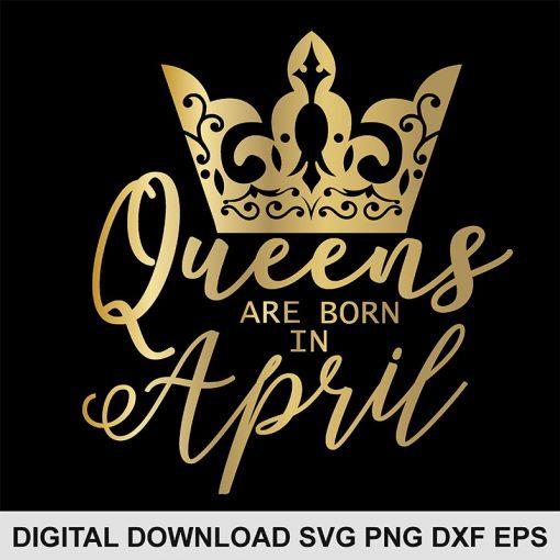 queen crown April svg