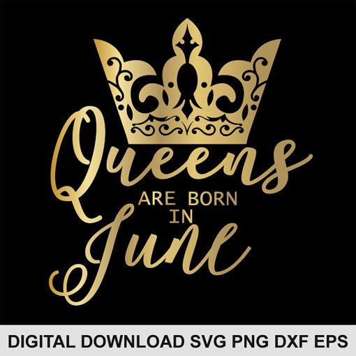 queen crown June svg