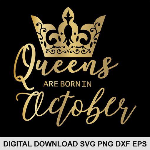 queen crown October svg