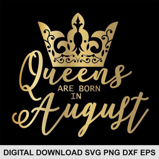 queen crown august svg
