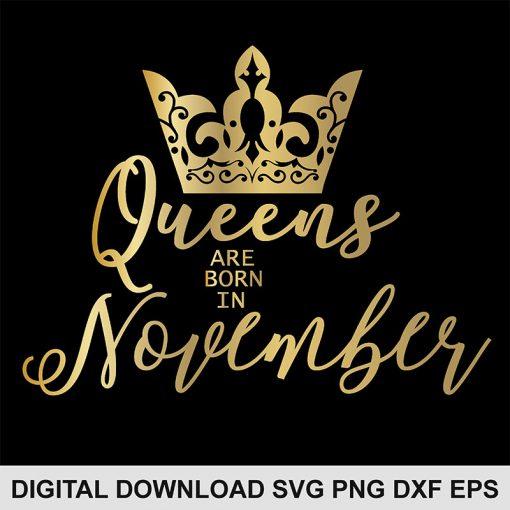 queen crown november svg